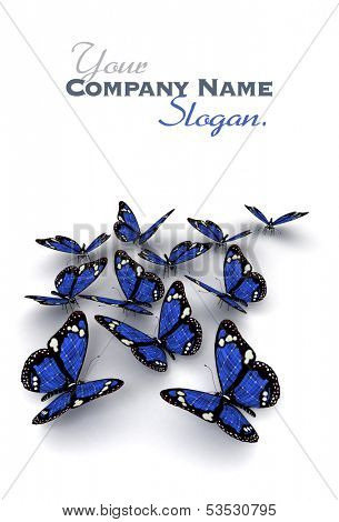 3D rendering of a group of blue butterflies with solar panel texture