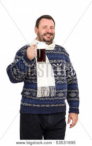 Bearded Man In Sweater Invites You To Beer Festival