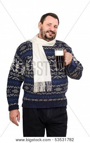 The Fat Man In White Scarf With Mug Of Ale