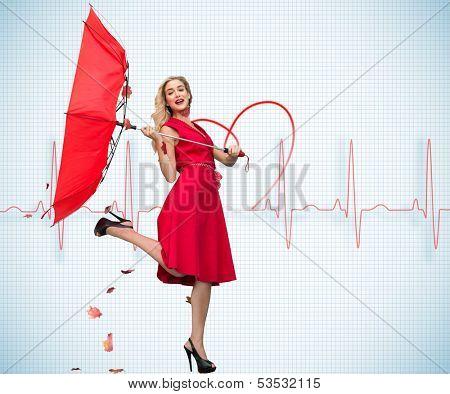 Composite image of elegant happy blonde holding umbrella