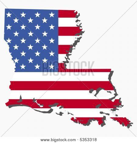 Louisiana Map Flag