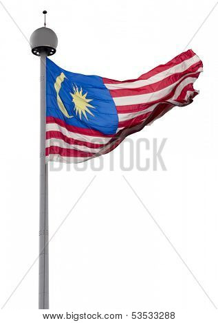 The flying national flag of the Malaysia on white background with clipping path
