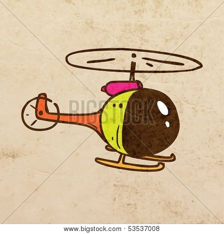 Helicopter. Cute Hand Drawn Vector illustration, Vintage Paper Texture Background