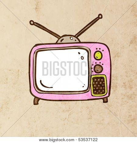 Retro TV. Cute Hand Drawn Vector illustration, Vintage Paper Texture Background