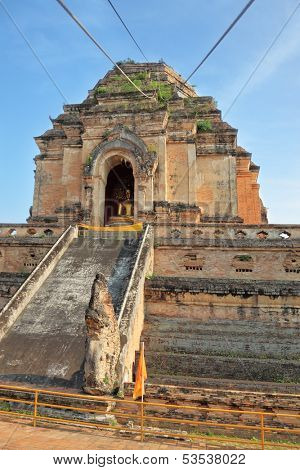 The step pyramid in which is the huge gold Buddha. Grandiose ritual construction in Thailand