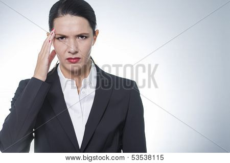 Stylish Pretty Businesswoman With Headache