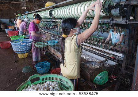Vietnamese Women Working In Silk Factory. Dalat. Vietnam