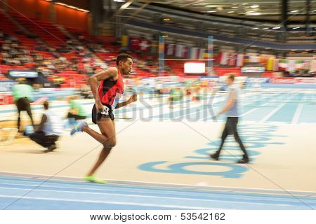 GOTHENBURG, SWEDEN - MARCH 1 Hayle Ibrahimov (Azerbaijan) wins heat 2  of the men's 3000m event during the European Athletics Indoor Championship on March 1, 2013 in Gothenburg, Sweden.