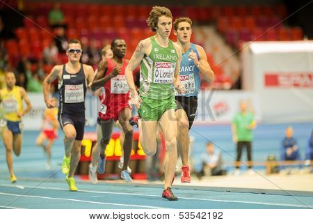 GOTHENBURG, SWEDEN - MARCH 1  Ciaran O Lionaird (Ireland)  wins heat 1 of the men's 3000m event during the European Athletics Indoor Championship on March 1, 2013 in Gothenburg, Sweden.
