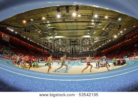 GOTHENBURG, SWEDEN - MARCH 1  Runners compete in heat 2 of the men's 3000m event during the European Athletics Indoor Championship on March 1, 2013 in Gothenburg, Sweden.