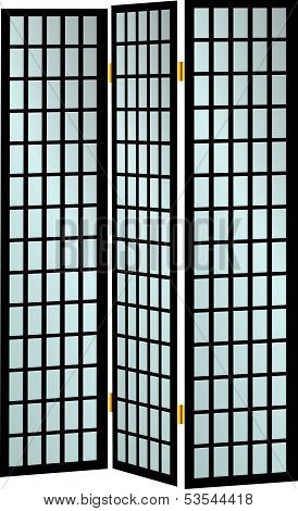 Three-pane Wooden Screen