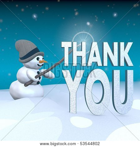 Snowman With Magic Wand And Thank You Symbol