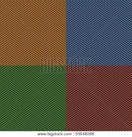 Herringbone stripe seamless pattern set in brown, blue and green, vector