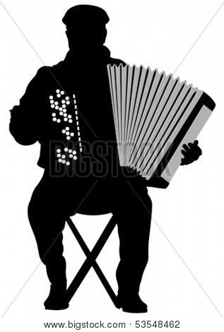 Vector drawing of an old man with an accordion. Property release is attached to the file