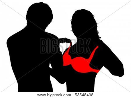 Vector drawing couples in love and red bra. Property release is attached to the file