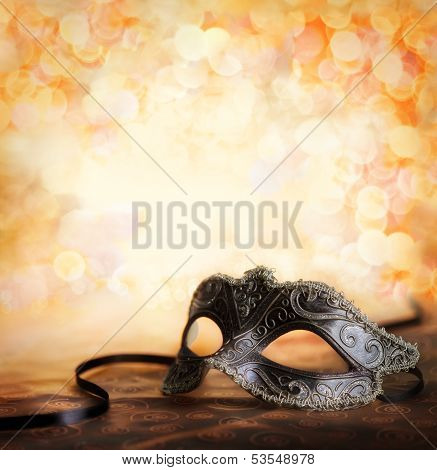 venetian mask with golden background