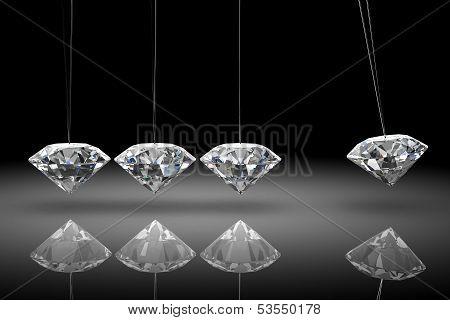 Balancing Diamond Newton's Cradle  (high Resolution 3D Image)