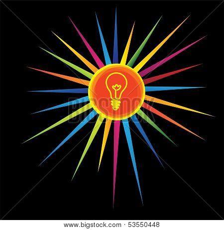 Light Bulb Icon On A Colorful Star - Brilliant Idea Concept.