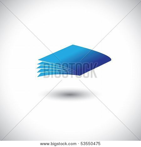Closed Blue Paper Notebook Or Book Icon With Pages Vector