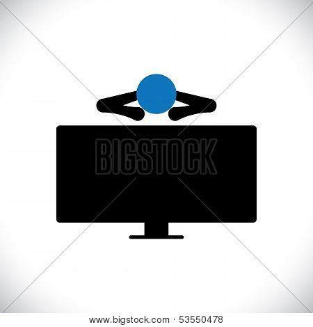 Icon Of Person Or Man Watching Tv Programs On An Large Lcd Television