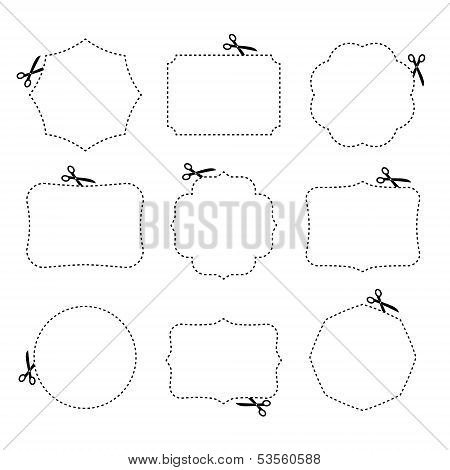 Scissors cutting different frames. Vector illustration.
