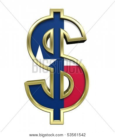 Dollar sign with Texas flag isolated on white. Computer generated 3D photo rendering.