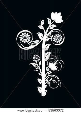 Vector Illustration Of The Number One Made With Floral Ornament On Black Background