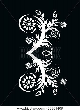 Vector Illustration Of The Number Three Made With Floral Ornament On Black Background