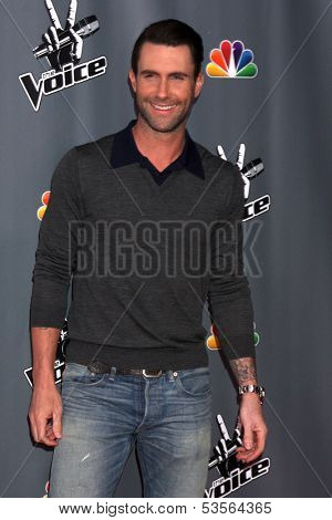 LOS ANGELES - NOV 7:  Adam Levine_ at the The Voice Season 5 Judges Photocall at Universal Studios Lot on November 7, 2013 in Los Angeles, CA