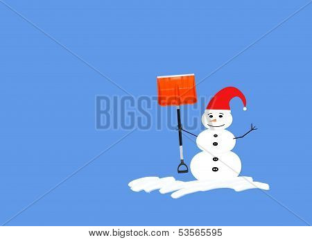 Snowman With Red Had And Shovel