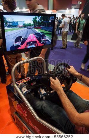 F1 Simulator At Games Week 2013 In Milan, Italy