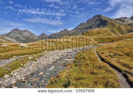 Panorama Of Alps: Mountains And Rivers