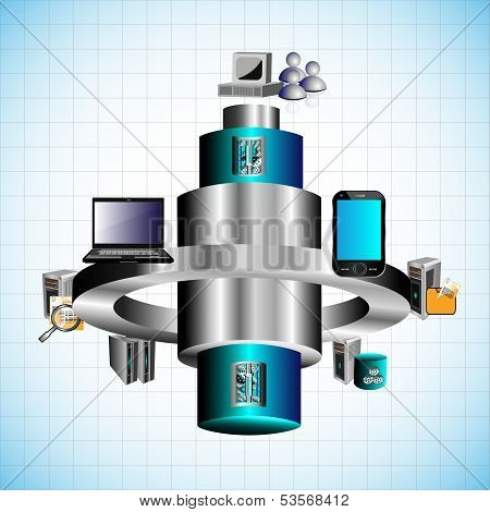 Vector Illustration of Enterprise mobile application global integration of various legacy and distri