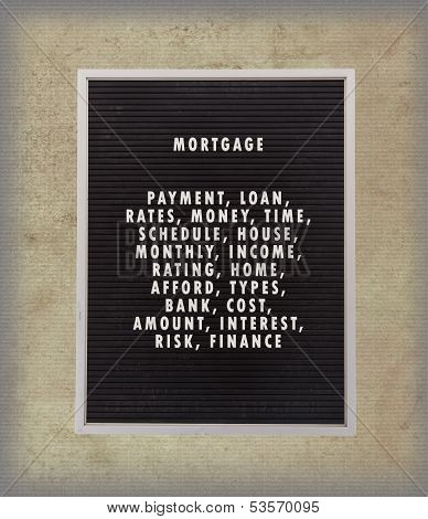 Mortgage Concept In Plastic Letters On Very Old Menu Board