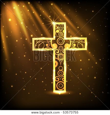 Merry Christmas celebration concept with golden Christian Cross on shiny brown background.