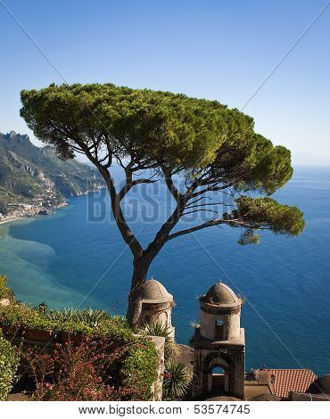 Vertical view of Mediterranean from Ravello, Italy
