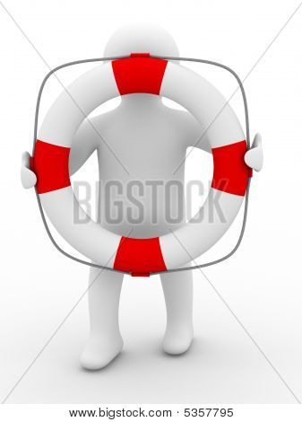 Rescuer With Lifebuoy Ring On White Background. Isolated 3D Image
