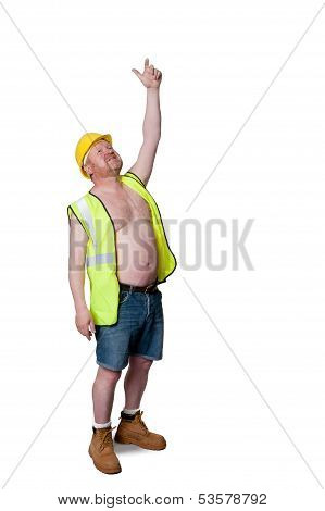 Construction Worker In Hard Hat, Pointing Up - Isolated On White