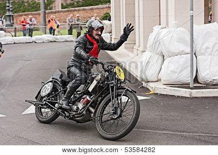 Biker Riding An Old  Motorcycle Scott Tt
