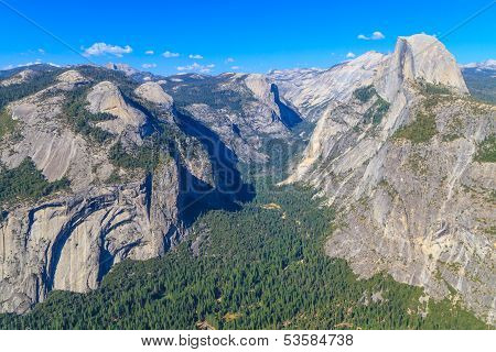 Yosemite Valley Panorama With Half Dome, California
