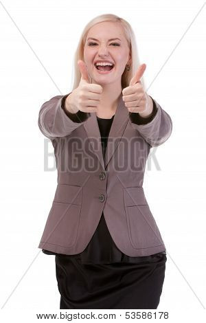 Happy Smiling Businesswoman With Thumbs Up Gesture
