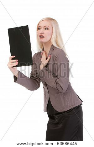 Shoked Business Woman Looking At The Paper