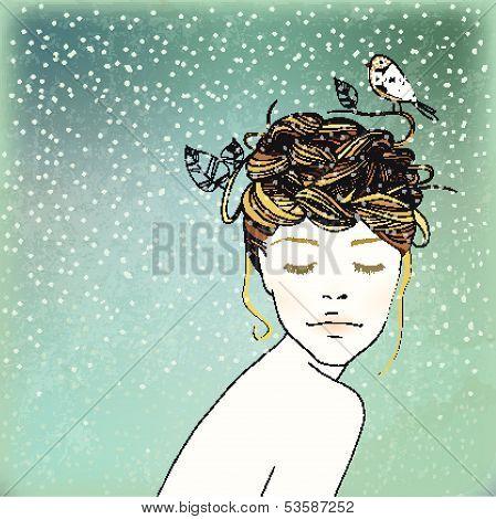 Winter Girl's Nest Hair Illustration