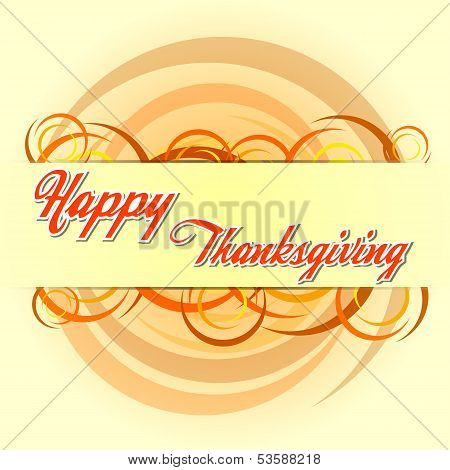 Happy Thanksgiving Day With Autumn Colors Circles