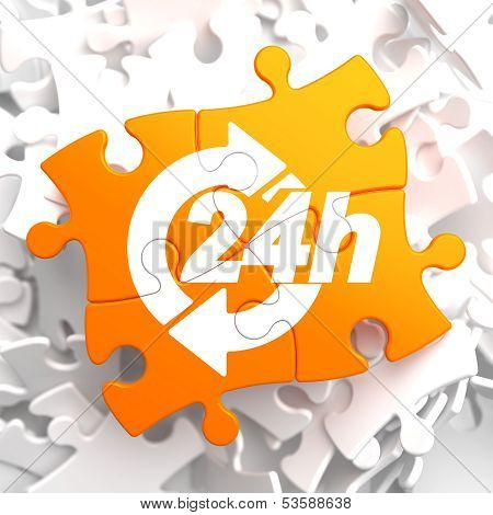 Service 24h Icon on Orange Puzzle.