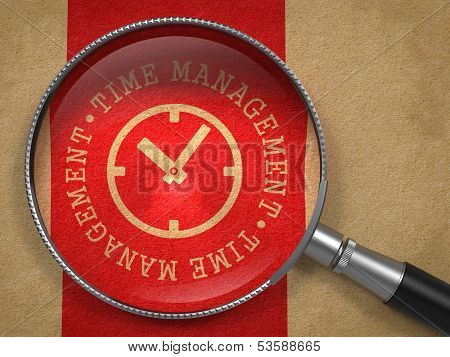 Magnifying Glass with Time Management Concept.