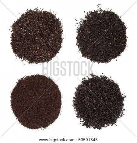 Tea selection of darjeeling, breakfast, assam and earl grey in piles over white background.