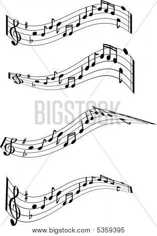 Music Note Swirls X4