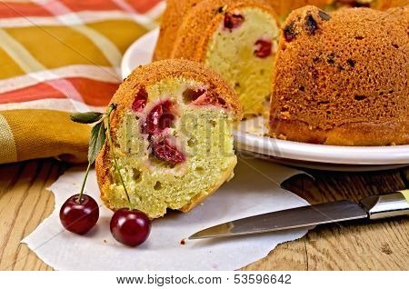 Cake With Berries Cherries And Napkin On The Board