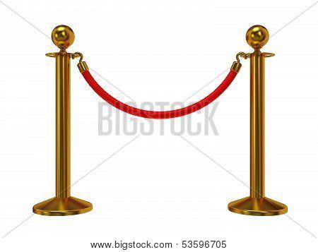 Golden rope barrier - 3d render